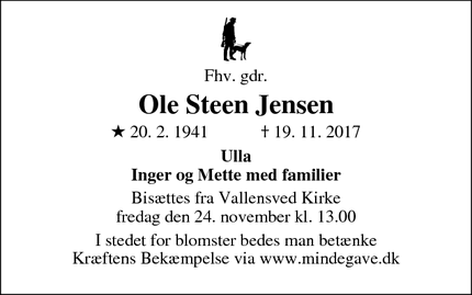 Dødsannoncen for Ole Steen Jensen - Næstved