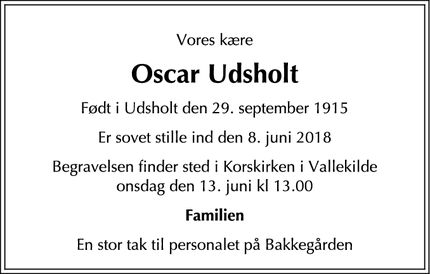 Dødsannoncen for Oscar Udsholt - Hørve