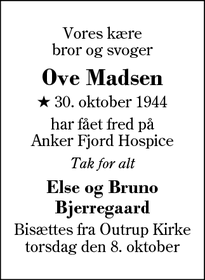 Dødsannoncen for Ove Madsen - Outrup