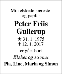 Dødsannoncen for Peter Friis Gullerup - Gelsted