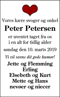Dødsannoncen for Peter Petersen - Rødding