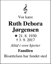 Dødsannoncen for Ruth Debora Jørgensen - Farum