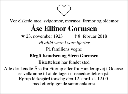 Dødsannoncen for Åse Ellinor Gormsen - Årup