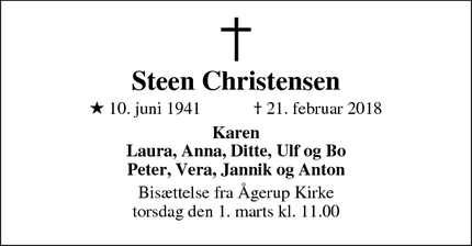 Dødsannoncen for Steen Christensen - Holbæk
