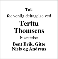 Dødsannoncen for Terttu Thomsens - Nibe