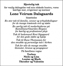 Dødsannoncen for Lone Veirum Dalsgaards - Dronninglund