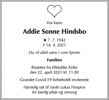 Dødsannoncen for Addie Sonne Hindsbo - Nærum