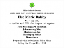 Dødsannoncen for Else Marie Balsby - Skive