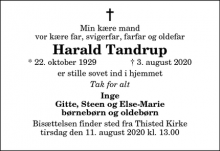 Dødsannoncen for Harald Tandrup - Thisted