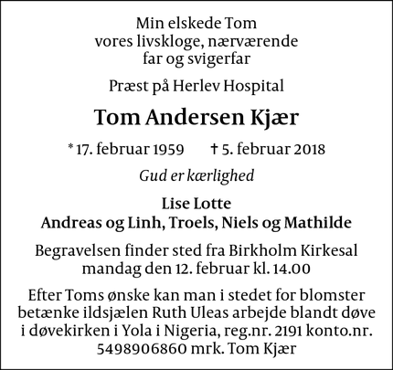 Dødsannoncen for Tom Andersen Kjær - Herlev