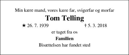 Dødsannoncen for Tom Telling - Allerød