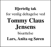 Taksigelsen for Tommy Claus Jensens - Hørve