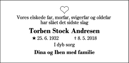 Dødsannoncen for Torben Stock Andresen - Herning